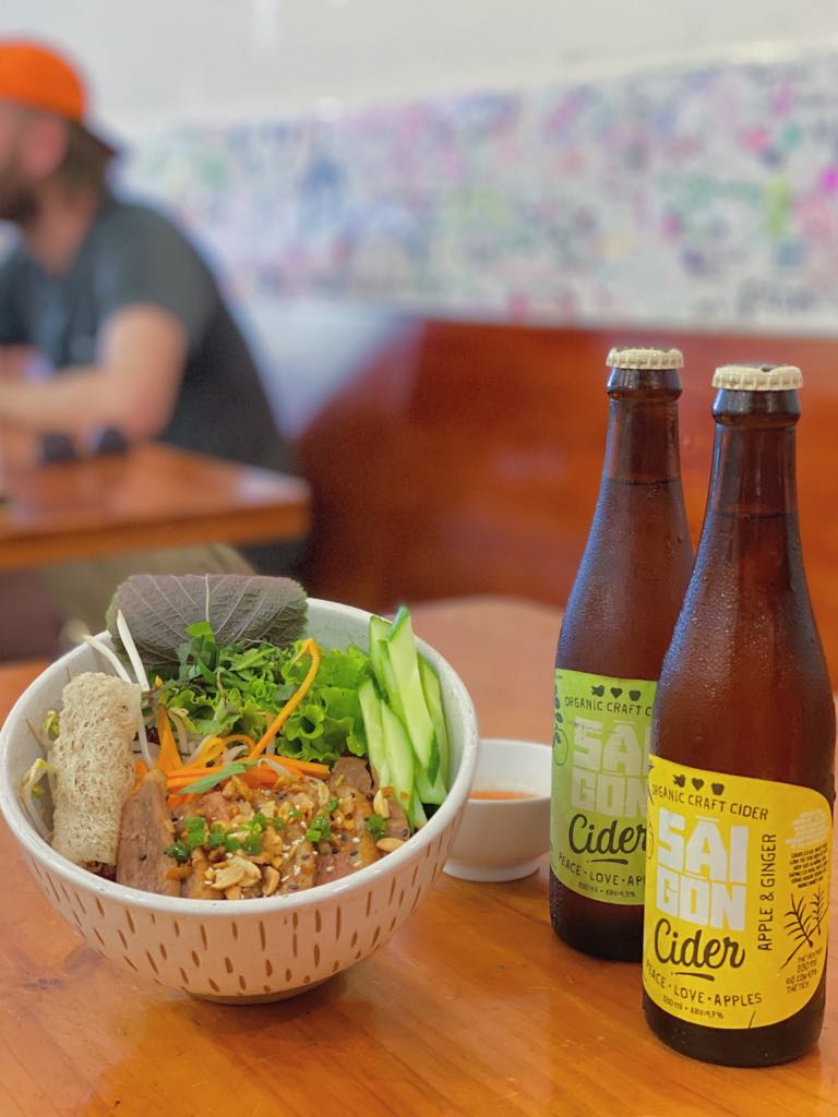 Saigon Cider paired with Royal Saigon's Beetroot Noodle Bowl